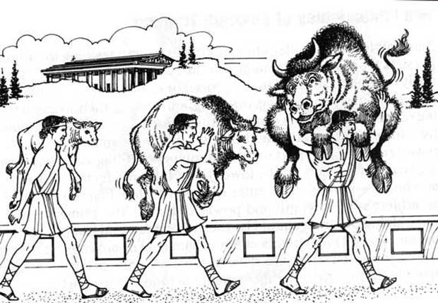 "MILO WAS A 6 TIME OLYMPIC CHAMPION IN ANCIENT GREECE. HE IS MOST FAMOUS FOR A MYTH THAT HE WAS ABLE TO LIFT A FULL GROWN BULL OVER HIS SHOULDERS! HE ACCOMPLISHED THIS BY STARTING IN CHILDHOOD, LIFTING AND CARRYING A NEWBORN CALF AND REPEATING THE FEAT DAILY AS IT GREW TO MATURITY. THIS IS THE SAME FITNESS CONCEPT WE KNOW TODAY AS ""PROGRESSIVE OVERLOAD""."